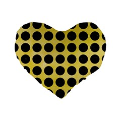 Circles1 Black Marble & Yellow Watercolor Standard 16  Premium Flano Heart Shape Cushions