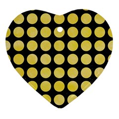Circles1 Black Marble & Yellow Watercolor (r) Ornament (heart)