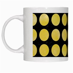Circles1 Black Marble & Yellow Watercolor (r) White Mugs