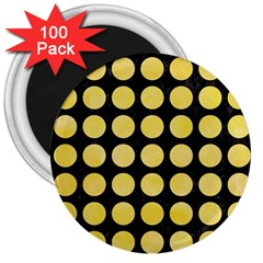 Circles1 Black Marble & Yellow Watercolor (r) 3  Magnets (100 Pack)