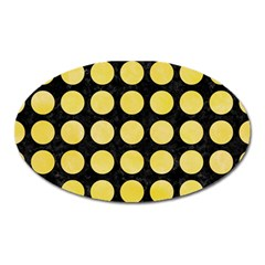 Circles1 Black Marble & Yellow Watercolor (r) Oval Magnet