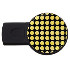 Circles1 Black Marble & Yellow Watercolor (r) Usb Flash Drive Round (4 Gb)