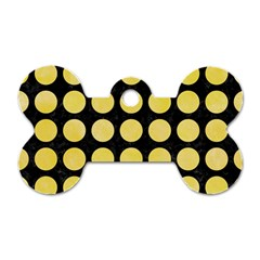 Circles1 Black Marble & Yellow Watercolor (r) Dog Tag Bone (one Side)