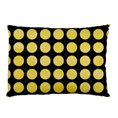 Circles1 Black Marble & Yellow Watercolor (r) Pillow Case