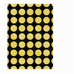 Circles1 Black Marble & Yellow Watercolor (r) Large Garden Flag (two Sides)