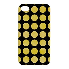 Circles1 Black Marble & Yellow Watercolor (r) Apple Iphone 4/4s Premium Hardshell Case