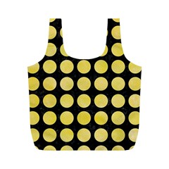 Circles1 Black Marble & Yellow Watercolor (r) Full Print Recycle Bags (m)