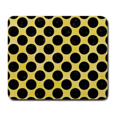 Circles2 Black Marble & Yellow Watercolor Large Mousepads