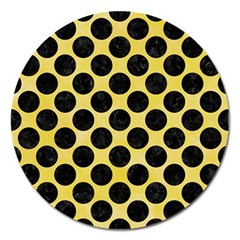 Circles2 Black Marble & Yellow Watercolor Magnet 5  (round)
