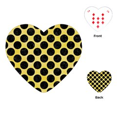 Circles2 Black Marble & Yellow Watercolor Playing Cards (heart)