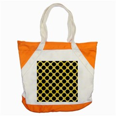 Circles2 Black Marble & Yellow Watercolor Accent Tote Bag