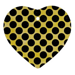Circles2 Black Marble & Yellow Watercolor Heart Ornament (two Sides)
