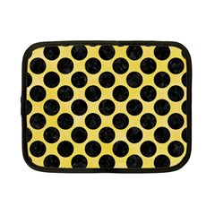 Circles2 Black Marble & Yellow Watercolor Netbook Case (small)