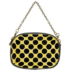 Circles2 Black Marble & Yellow Watercolor Chain Purses (one Side)