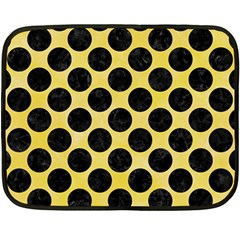 Circles2 Black Marble & Yellow Watercolor Double Sided Fleece Blanket (mini)