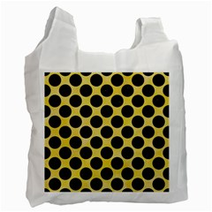 Circles2 Black Marble & Yellow Watercolor Recycle Bag (two Side)