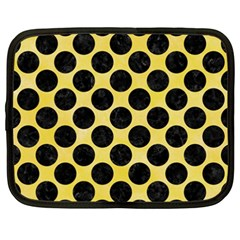 Circles2 Black Marble & Yellow Watercolor Netbook Case (xxl)
