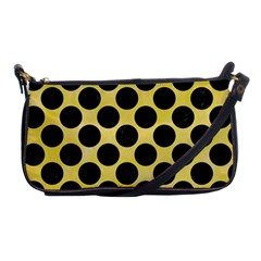 Circles2 Black Marble & Yellow Watercolor Shoulder Clutch Bags