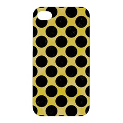 Circles2 Black Marble & Yellow Watercolor Apple Iphone 4/4s Hardshell Case