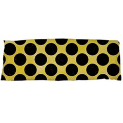 Circles2 Black Marble & Yellow Watercolor Body Pillow Case (dakimakura)