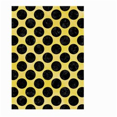 Circles2 Black Marble & Yellow Watercolor Large Garden Flag (two Sides)