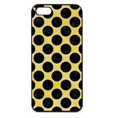 Circles2 Black Marble & Yellow Watercolor Apple Iphone 5 Seamless Case (black)