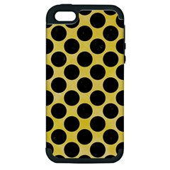 Circles2 Black Marble & Yellow Watercolor Apple Iphone 5 Hardshell Case (pc+silicone)