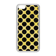 Circles2 Black Marble & Yellow Watercolor Apple Iphone 5c Seamless Case (white)