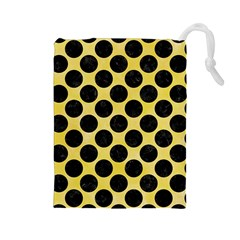 Circles2 Black Marble & Yellow Watercolor Drawstring Pouches (large)
