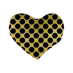 Circles2 Black Marble & Yellow Watercolor Standard 16  Premium Flano Heart Shape Cushions