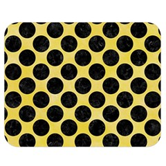 Circles2 Black Marble & Yellow Watercolor Double Sided Flano Blanket (medium)