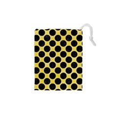 Circles2 Black Marble & Yellow Watercolor Drawstring Pouches (xs)