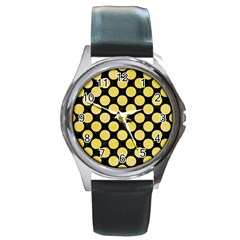 Circles2 Black Marble & Yellow Watercolor (r) Round Metal Watch