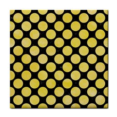 Circles2 Black Marble & Yellow Watercolor (r) Tile Coasters