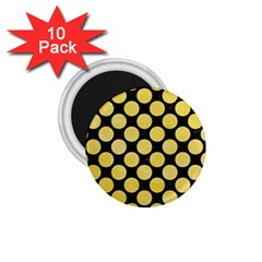 Circles2 Black Marble & Yellow Watercolor (r) 1 75  Magnets (10 Pack)