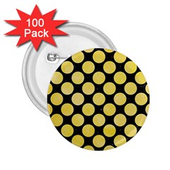 Circles2 Black Marble & Yellow Watercolor (r) 2 25  Buttons (100 Pack)