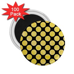 Circles2 Black Marble & Yellow Watercolor (r) 2 25  Magnets (100 Pack)