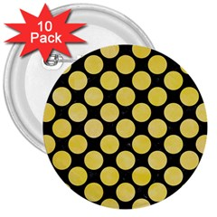 Circles2 Black Marble & Yellow Watercolor (r) 3  Buttons (10 Pack)