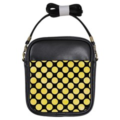 Circles2 Black Marble & Yellow Watercolor (r) Girls Sling Bags