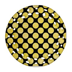 Circles2 Black Marble & Yellow Watercolor (r) Round Filigree Ornament (two Sides)