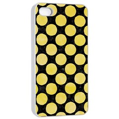 Circles2 Black Marble & Yellow Watercolor (r) Apple Iphone 4/4s Seamless Case (white)