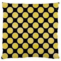 Circles2 Black Marble & Yellow Watercolor (r) Large Cushion Case (one Side)