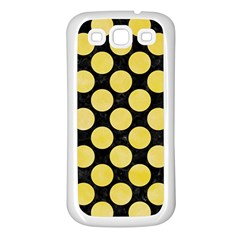 Circles2 Black Marble & Yellow Watercolor (r) Samsung Galaxy S3 Back Case (white)