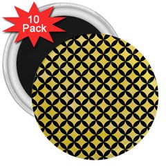 Circles3 Black Marble & Yellow Watercolor 3  Magnets (10 Pack)