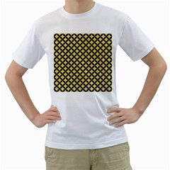 Circles3 Black Marble & Yellow Watercolor Men s T Shirt (white) (two Sided)