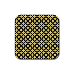 Circles3 Black Marble & Yellow Watercolor Rubber Square Coaster (4 Pack)