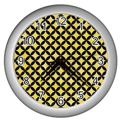Circles3 Black Marble & Yellow Watercolor Wall Clocks (silver)