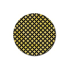 Circles3 Black Marble & Yellow Watercolor Rubber Coaster (round)