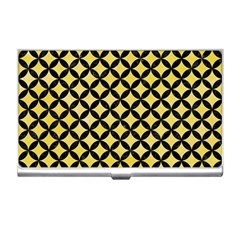 Circles3 Black Marble & Yellow Watercolor Business Card Holders