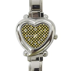 Circles3 Black Marble & Yellow Watercolor Heart Italian Charm Watch